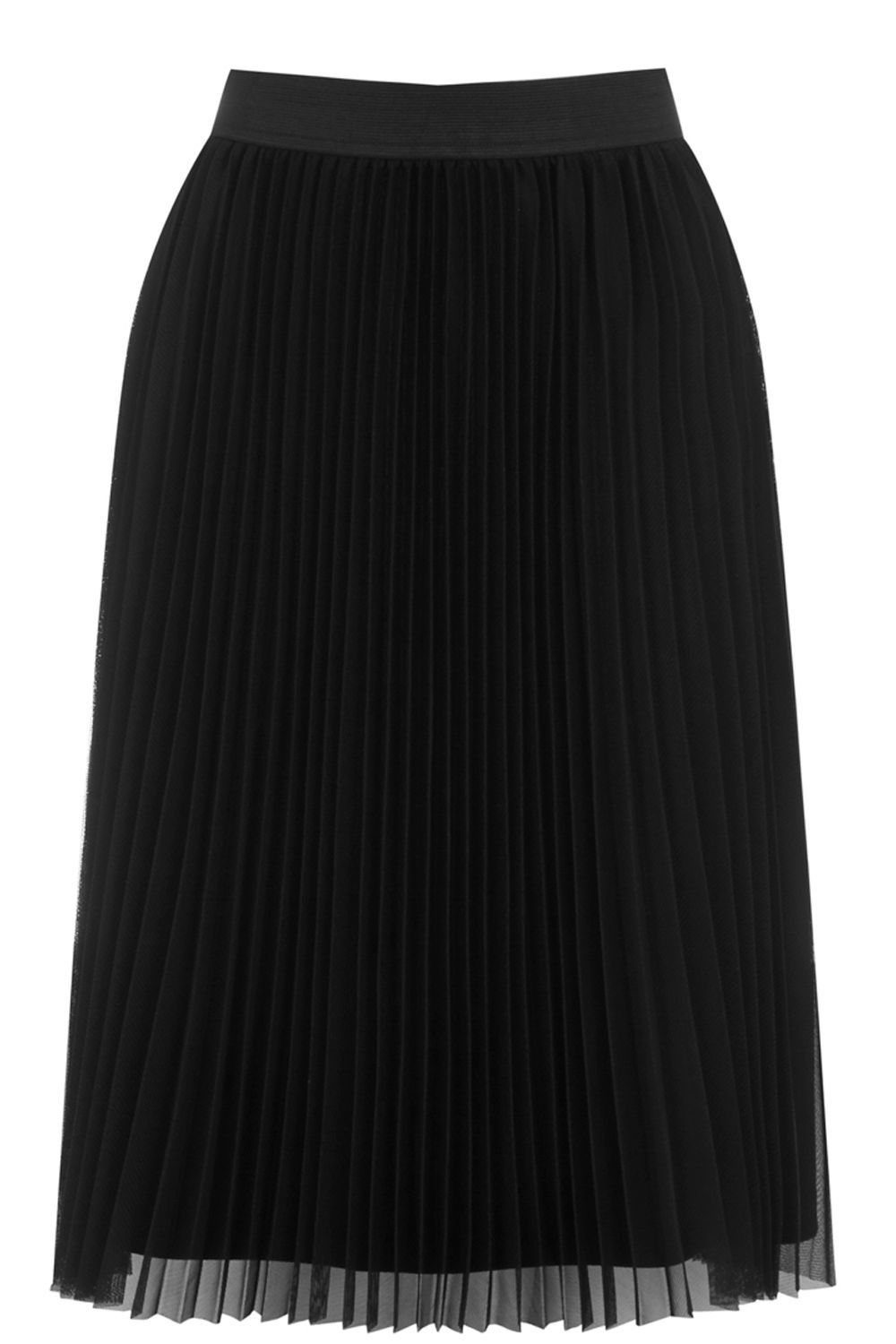 Pleated Mesh Skirt, Black - length: below the knee; pattern: plain; style: straight; fit: loose/voluminous; waist: high rise; predominant colour: black; occasions: casual, evening, creative work; fibres: polyester/polyamide - 100%; texture group: sheer fabrics/chiffon/organza etc.; pattern type: fabric; wardrobe: basic; season: a/w 2016
