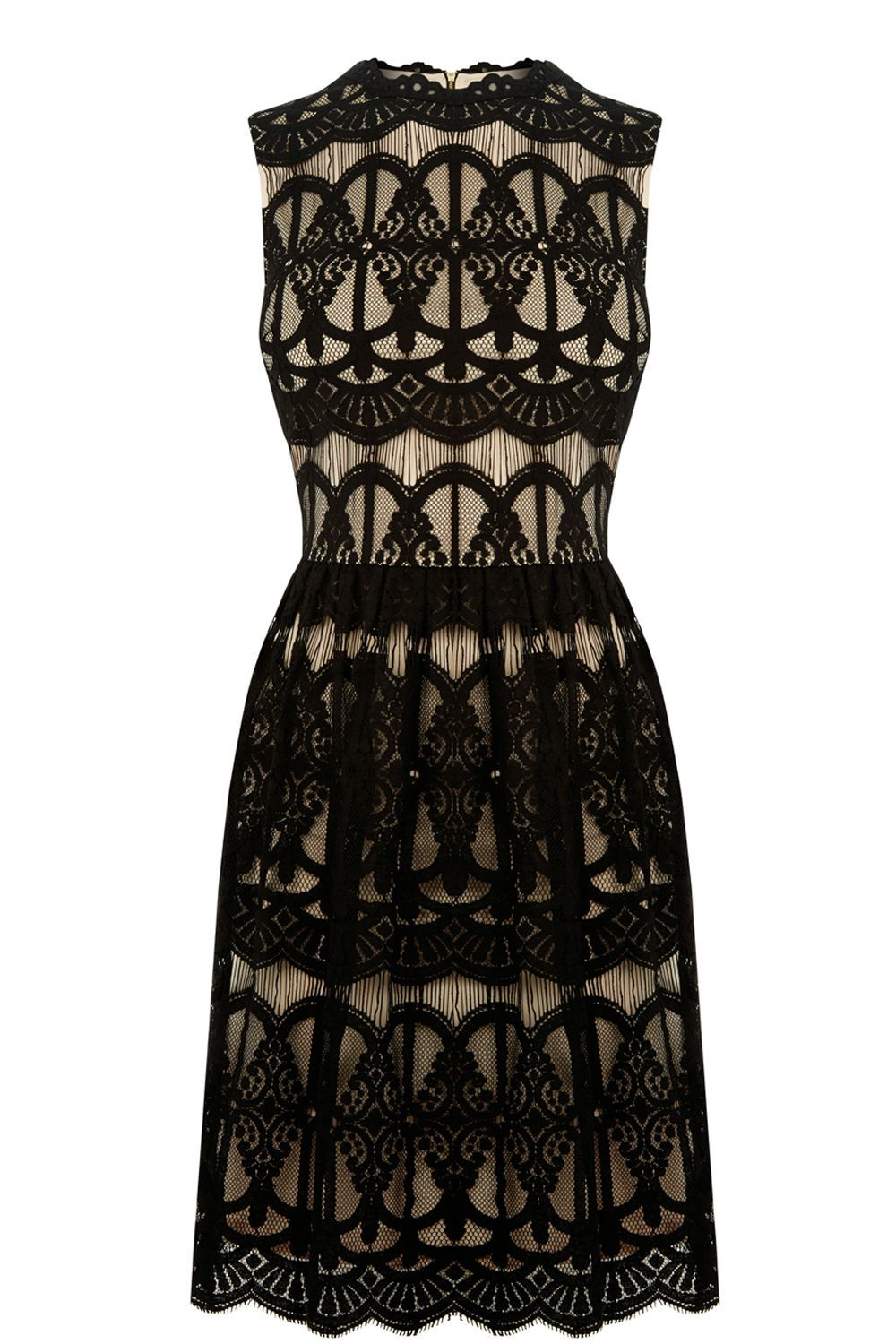 Deco Lace Dress, Black - pattern: plain; sleeve style: sleeveless; hip detail: draws attention to hips; predominant colour: black; occasions: evening; length: just above the knee; fit: fitted at waist & bust; style: fit & flare; fibres: cotton - mix; neckline: crew; sleeve length: sleeveless; texture group: lace; pattern type: fabric; embellishment: lace; season: a/w 2016; wardrobe: event