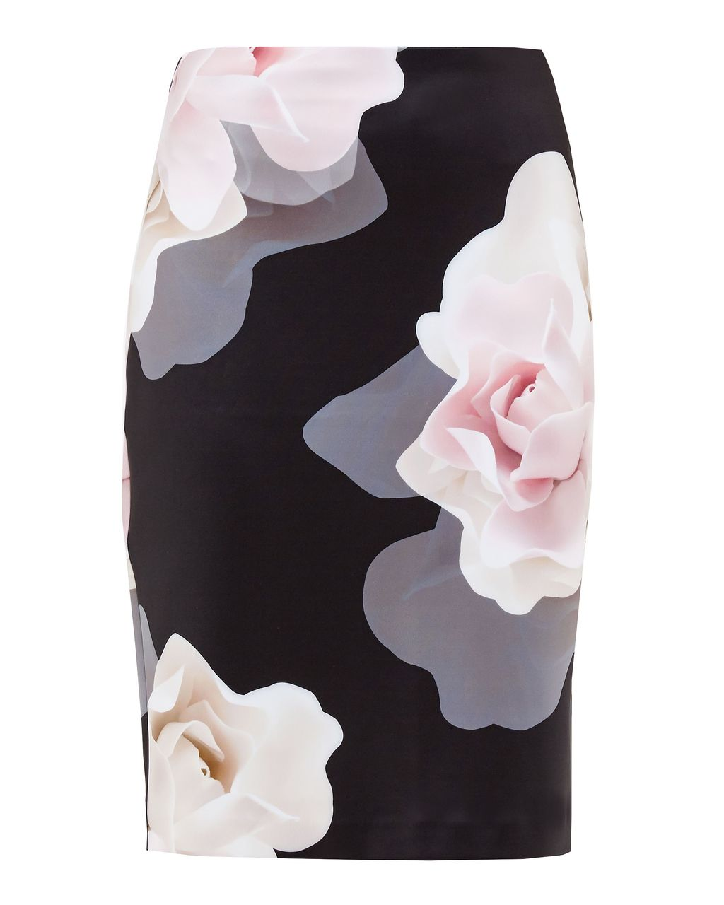 Kanara Porcelain Rose Pencil Skirt, Black - style: pencil; fit: tailored/fitted; waist: mid/regular rise; secondary colour: blush; predominant colour: black; occasions: evening, occasion; length: just above the knee; fibres: polyester/polyamide - stretch; pattern type: fabric; pattern: florals; texture group: jersey - stretchy/drapey; pattern size: big & busy (bottom); season: a/w 2016; wardrobe: event