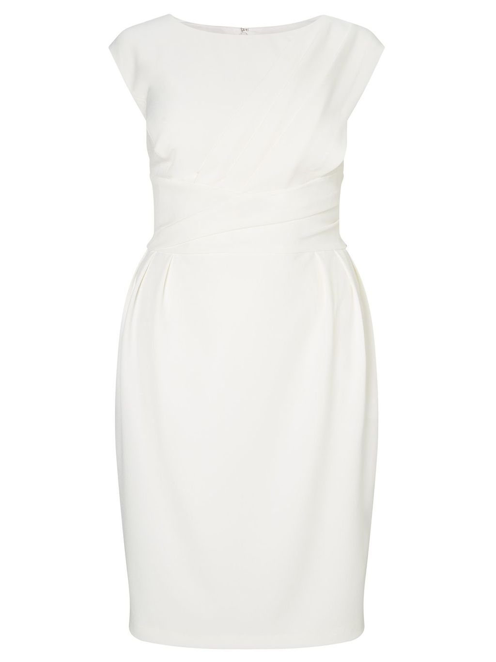 Plus Size Cap Sleeve Origami Shift Dress, Cream - style: shift; sleeve style: capped; pattern: plain; predominant colour: ivory/cream; occasions: evening; length: just above the knee; fit: body skimming; fibres: polyester/polyamide - stretch; neckline: crew; sleeve length: short sleeve; pattern type: fabric; texture group: jersey - stretchy/drapey; season: a/w 2016; wardrobe: event