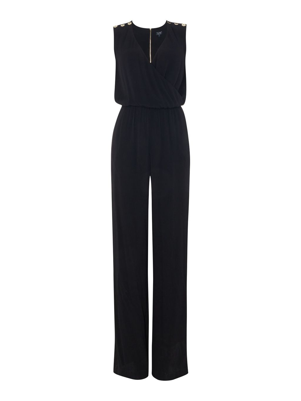 Sleeveless Button Shoulder Jumpsuit, Black - length: standard; pattern: plain; sleeve style: sleeveless; predominant colour: black; occasions: evening; fit: body skimming; neckline: peep hole neckline; fibres: viscose/rayon - 100%; sleeve length: sleeveless; style: jumpsuit; pattern type: fabric; texture group: jersey - stretchy/drapey; season: a/w 2016; wardrobe: event