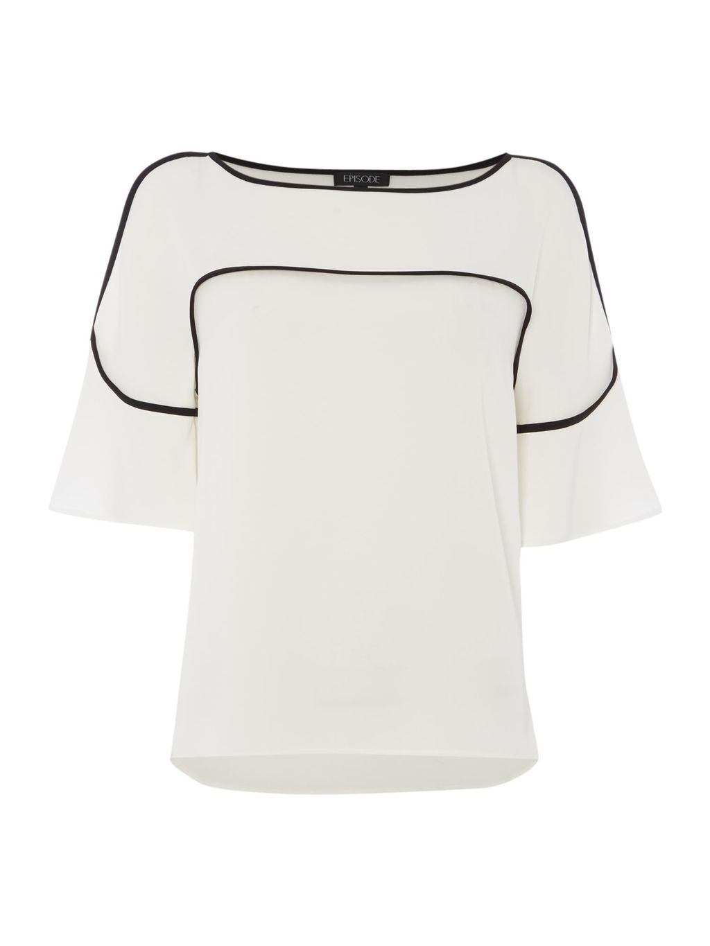 Top With Piping And Frill Sleeves, White - pattern: plain; predominant colour: white; secondary colour: black; occasions: casual; length: standard; style: top; fibres: polyester/polyamide - stretch; fit: body skimming; neckline: crew; sleeve length: half sleeve; sleeve style: standard; pattern type: fabric; texture group: other - light to midweight; multicoloured: multicoloured; wardrobe: basic; season: a/w 2016