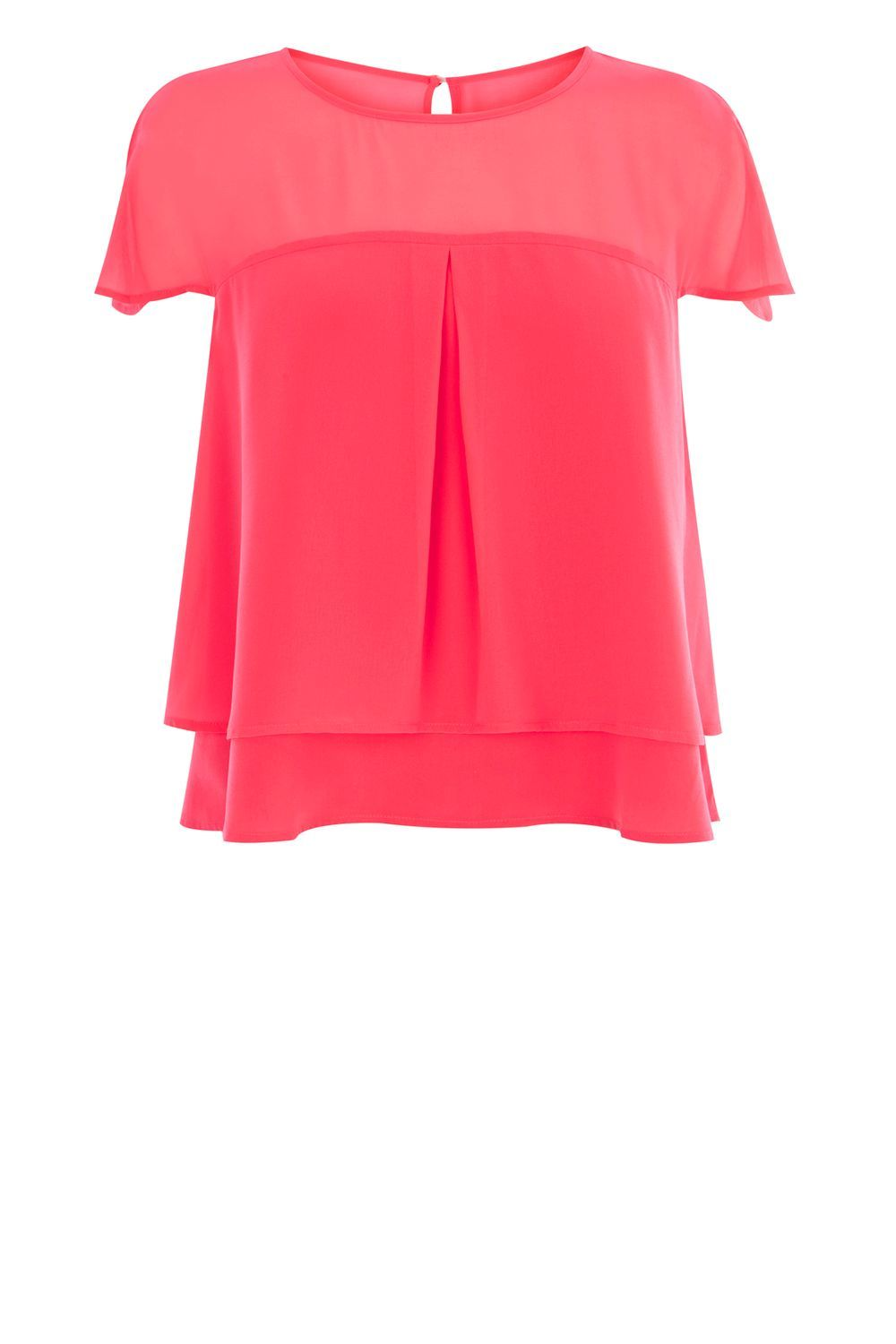 Evangaline Top, Pink - neckline: round neck; sleeve style: capped; pattern: plain; predominant colour: pink; occasions: evening, creative work; length: standard; style: top; fibres: polyester/polyamide - 100%; fit: loose; back detail: keyhole/peephole detail at back; sleeve length: short sleeve; texture group: sheer fabrics/chiffon/organza etc.; pattern type: fabric; season: a/w 2016; wardrobe: highlight