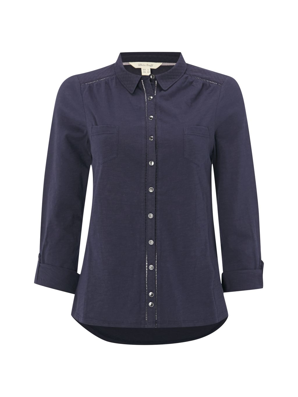 Pearl Ls Jersey Shirt, Navy - neckline: shirt collar/peter pan/zip with opening; pattern: plain; style: shirt; predominant colour: navy; occasions: casual; length: standard; fibres: cotton - 100%; fit: body skimming; sleeve length: 3/4 length; sleeve style: standard; pattern type: fabric; texture group: jersey - stretchy/drapey; wardrobe: basic; season: a/w 2016