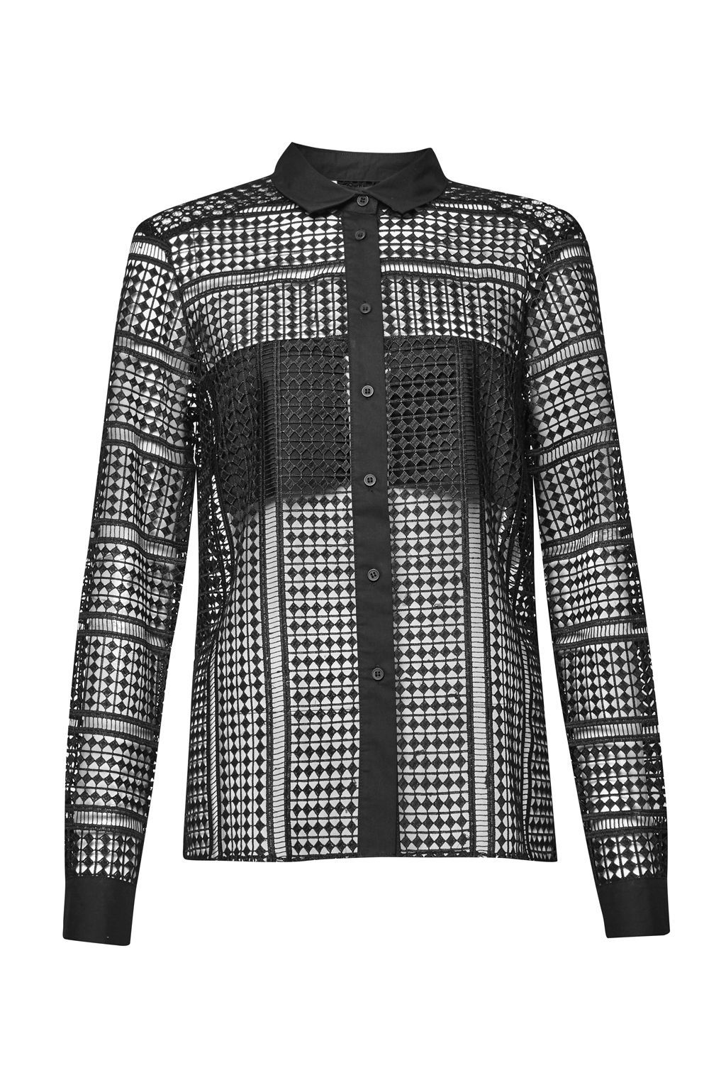 Summer Cage Laser Cut Shirt, Black - neckline: shirt collar/peter pan/zip with opening; pattern: plain; style: shirt; predominant colour: black; occasions: evening; length: standard; fibres: polyester/polyamide - 100%; fit: body skimming; sleeve length: long sleeve; sleeve style: standard; texture group: lace; pattern type: fabric; season: a/w 2016; wardrobe: event
