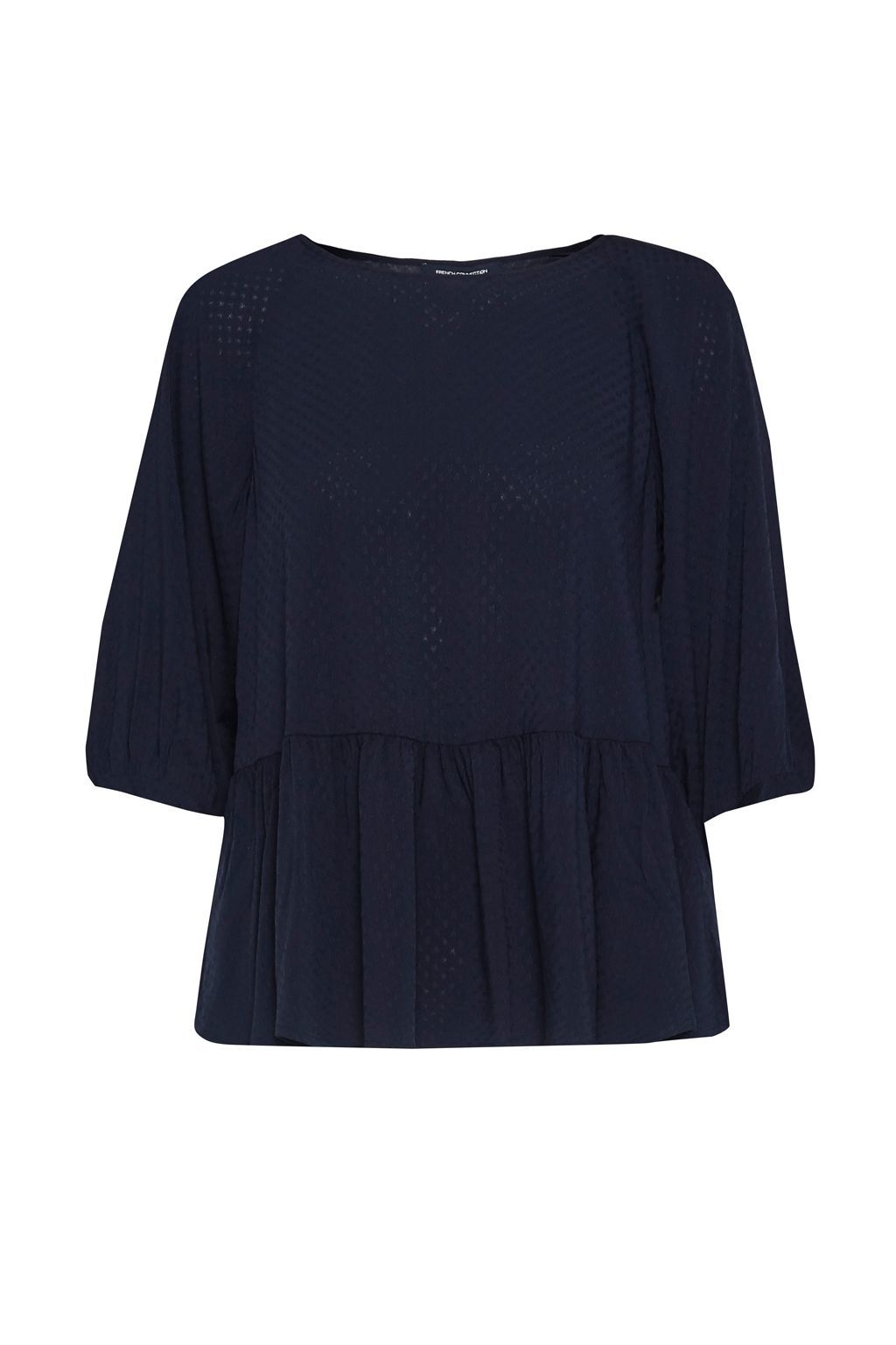 Empire Dot Flared Hem Top, Blue - neckline: round neck; pattern: plain; predominant colour: navy; occasions: casual; length: standard; style: top; fibres: viscose/rayon - 100%; fit: body skimming; sleeve length: 3/4 length; sleeve style: standard; pattern type: fabric; texture group: other - light to midweight; wardrobe: basic; season: a/w 2016