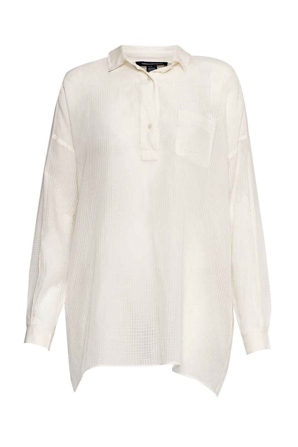 Sheer Check Pull Over Shirt, White - neckline: shirt collar/peter pan/zip with opening; pattern: plain; style: shirt; predominant colour: white; occasions: casual; length: standard; fibres: cotton - 100%; fit: body skimming; sleeve length: long sleeve; sleeve style: standard; texture group: cotton feel fabrics; pattern type: fabric; wardrobe: basic; season: a/w 2016