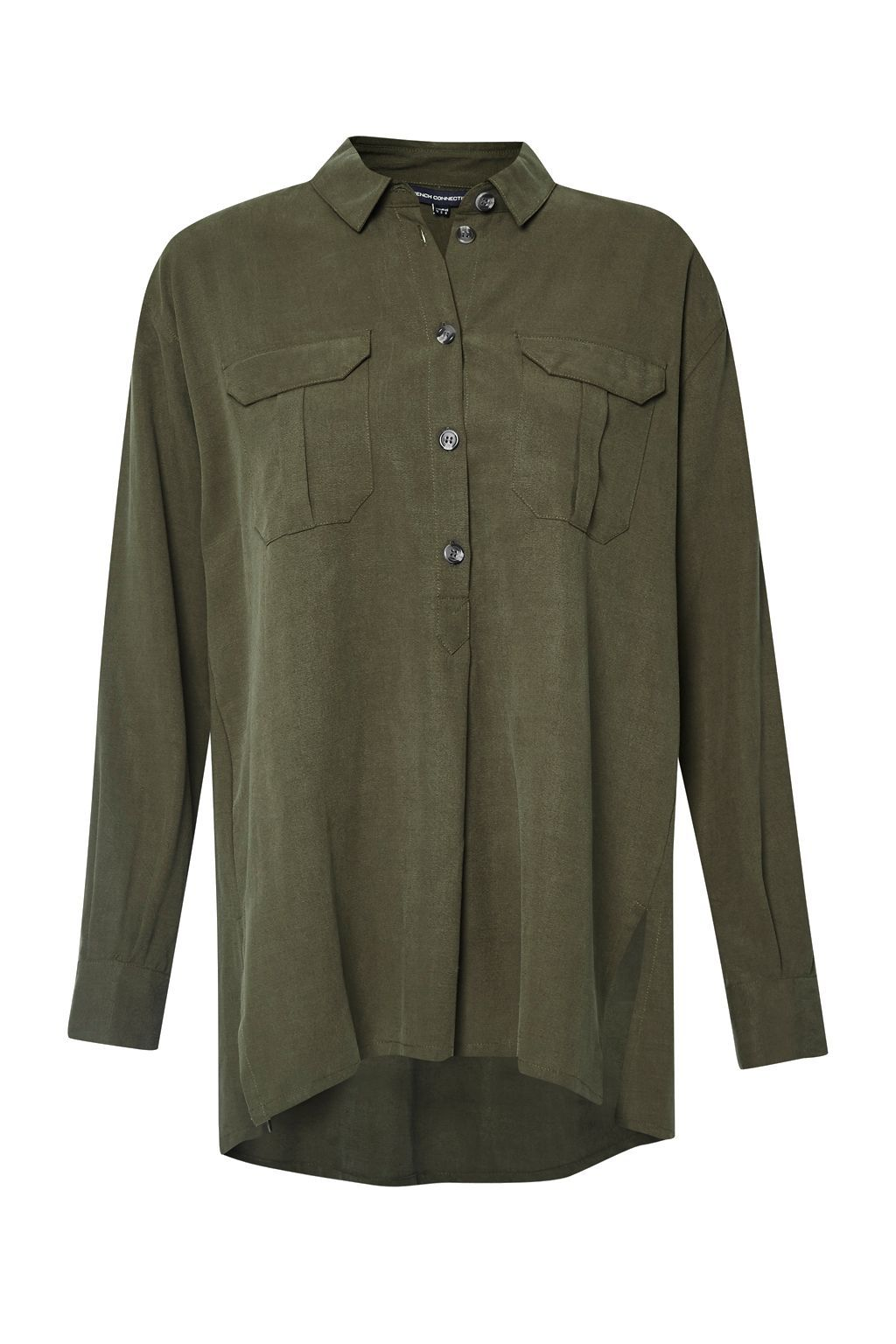 Trooper Tencel Pull Over Shirt, Green - neckline: shirt collar/peter pan/zip with opening; pattern: plain; length: below the bottom; style: shirt; predominant colour: khaki; occasions: casual; fibres: viscose/rayon - 100%; fit: body skimming; sleeve length: long sleeve; sleeve style: standard; pattern type: fabric; texture group: other - light to midweight; wardrobe: basic; season: a/w 2016