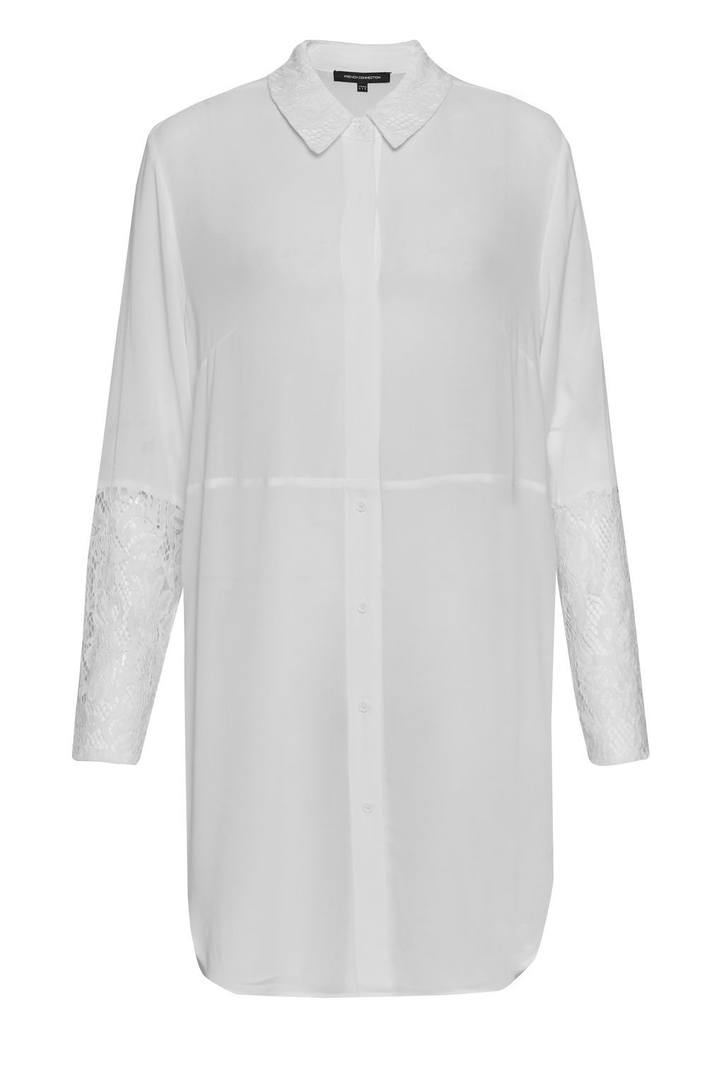 Taza Lace Longline Shirt, White - neckline: shirt collar/peter pan/zip with opening; pattern: plain; style: shirt; predominant colour: white; occasions: casual, creative work; fibres: viscose/rayon - 100%; fit: straight cut; length: mid thigh; sleeve length: long sleeve; sleeve style: standard; pattern type: fabric; texture group: other - light to midweight; wardrobe: basic; season: a/w 2016