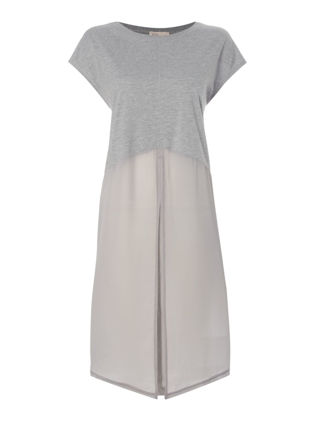 Longline Chiffon Mix Tee, Grey - pattern: plain; predominant colour: light grey; occasions: casual; style: top; fibres: polyester/polyamide - mix; fit: body skimming; neckline: crew; length: mid thigh; sleeve length: short sleeve; sleeve style: standard; texture group: sheer fabrics/chiffon/organza etc.; pattern type: fabric; wardrobe: basic; season: a/w 2016