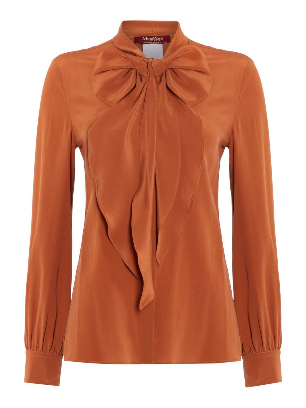 Maldive Long Sleeve Silk Pussy Bow Blouse, Terracotta - pattern: plain; neckline: pussy bow; style: blouse; predominant colour: terracotta; occasions: evening; length: standard; fibres: silk - 100%; fit: body skimming; sleeve length: long sleeve; sleeve style: standard; texture group: silky - light; pattern type: fabric; season: a/w 2016; wardrobe: event