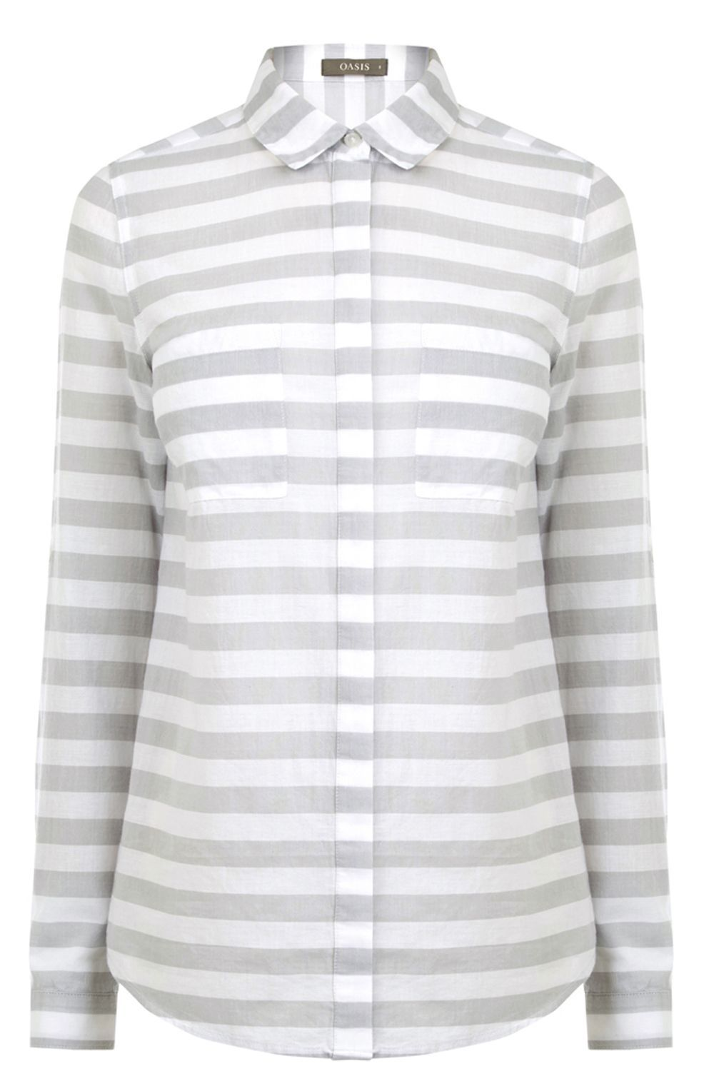Stripe Shirt, White - neckline: shirt collar/peter pan/zip with opening; pattern: horizontal stripes; style: shirt; secondary colour: white; predominant colour: mid grey; occasions: casual; length: standard; fibres: cotton - mix; fit: body skimming; sleeve length: long sleeve; sleeve style: standard; texture group: cotton feel fabrics; pattern type: fabric; multicoloured: multicoloured; wardrobe: basic; season: a/w 2016
