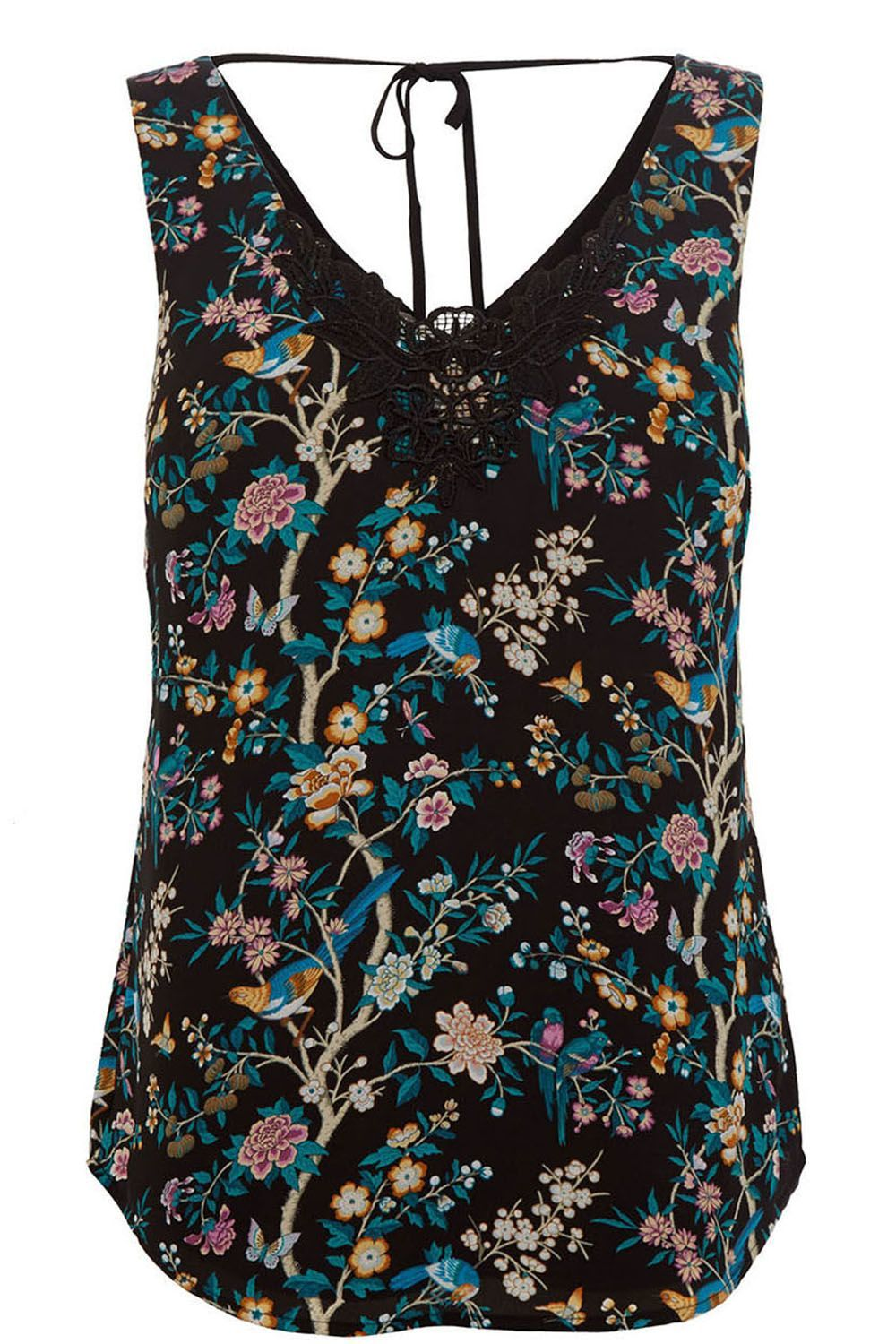 V&A Vest, Black - neckline: low v-neck; sleeve style: standard vest straps/shoulder straps; style: vest top; back detail: tie at back; secondary colour: teal; predominant colour: black; occasions: casual; length: standard; fibres: polyester/polyamide - 100%; fit: straight cut; sleeve length: sleeveless; pattern type: fabric; pattern size: standard; pattern: florals; texture group: woven light midweight; embellishment: lace; multicoloured: multicoloured; season: a/w 2016; wardrobe: highlight