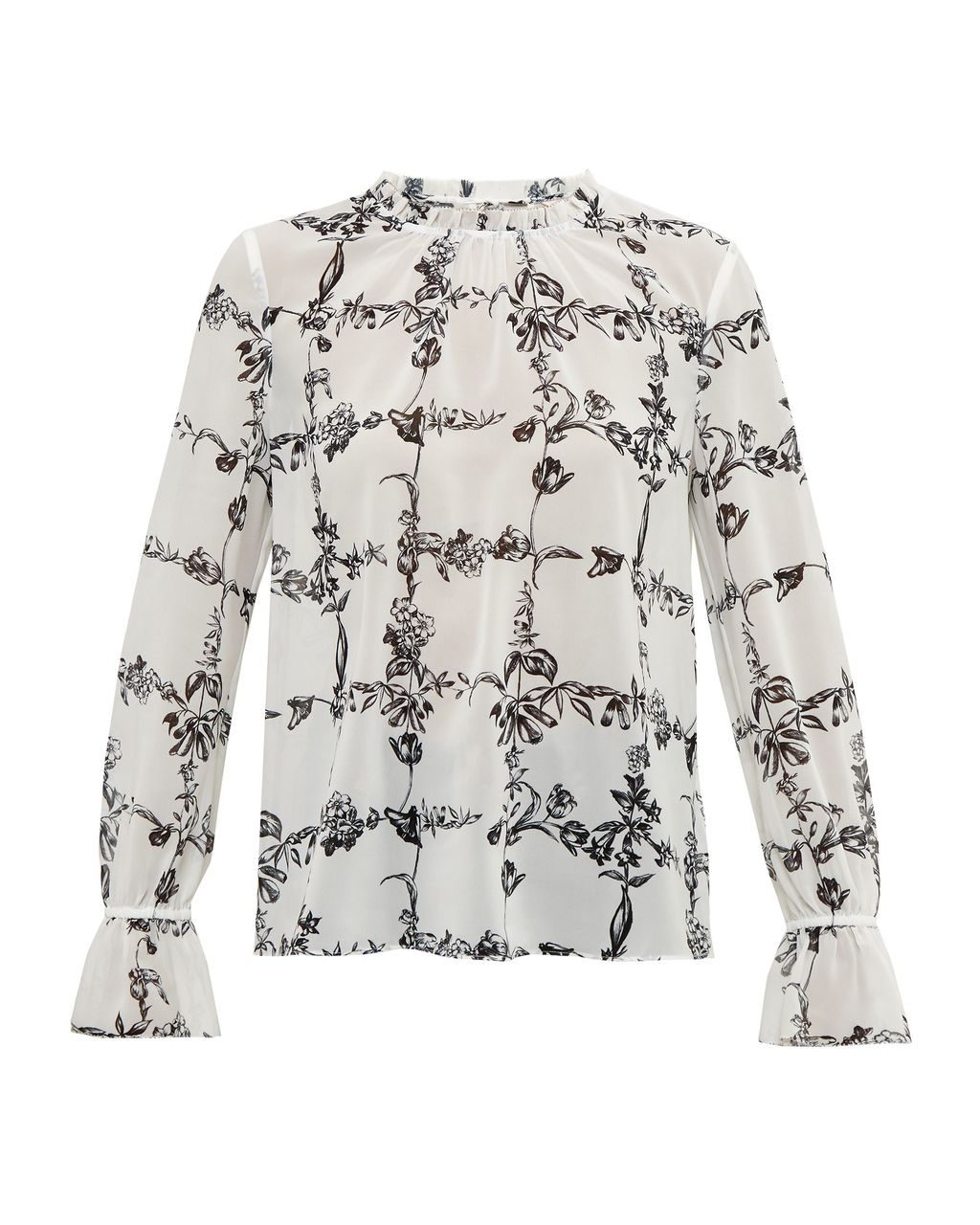 Weerah Floral High Neck Shirt, Cream - style: blouse; sleeve style: volant; predominant colour: white; secondary colour: black; occasions: casual, creative work; length: standard; fibres: silk - 100%; fit: loose; neckline: crew; sleeve length: long sleeve; trends: monochrome; texture group: silky - light; pattern type: fabric; pattern size: standard; pattern: florals; season: a/w 2016; wardrobe: highlight