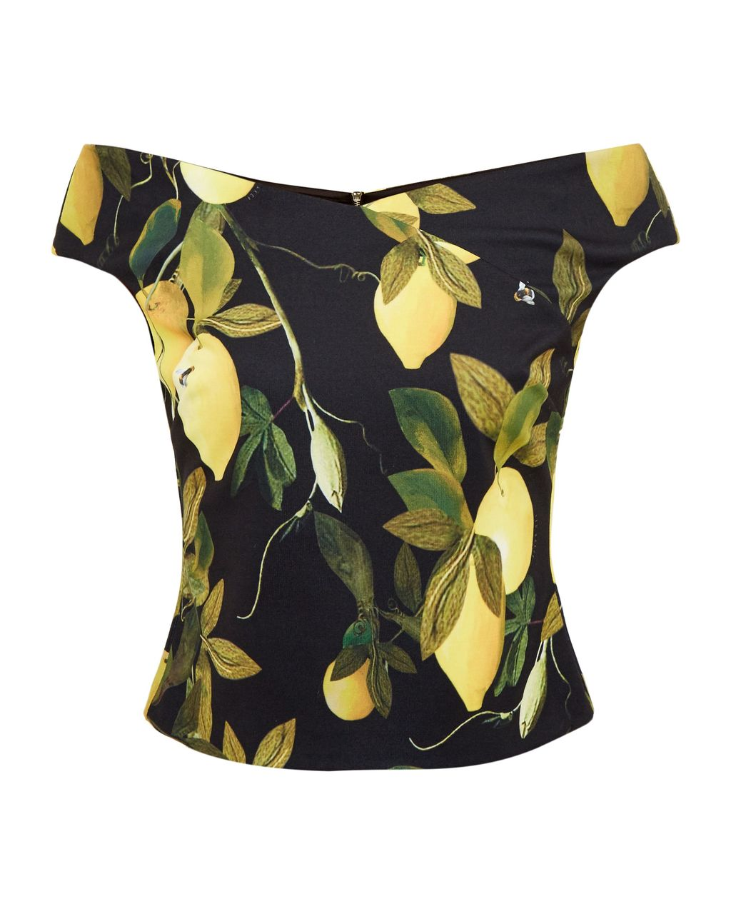 Tiffi Citrus Vine Bardot Top, Black - neckline: off the shoulder; sleeve style: capped; secondary colour: yellow; predominant colour: black; occasions: casual, holiday, creative work; length: standard; style: top; fibres: polyester/polyamide - stretch; fit: tailored/fitted; sleeve length: short sleeve; pattern type: fabric; pattern: patterned/print; texture group: jersey - stretchy/drapey; pattern size: big & busy (top); season: a/w 2016; wardrobe: highlight