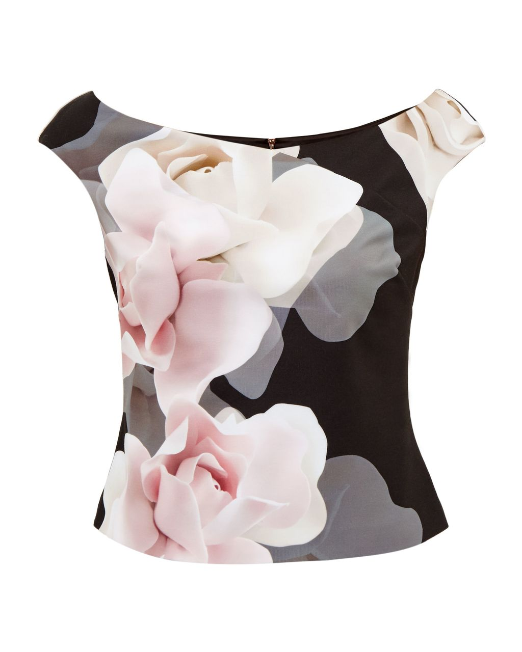 Tabori Porcelain Rose Bardot Top, Black - neckline: off the shoulder; sleeve style: capped; secondary colour: ivory/cream; predominant colour: black; length: standard; style: top; fibres: polyester/polyamide - 100%; occasions: occasion; fit: tailored/fitted; sleeve length: short sleeve; pattern type: fabric; pattern: florals; texture group: woven light midweight; pattern size: big & busy (top); multicoloured: multicoloured; season: a/w 2016; wardrobe: event