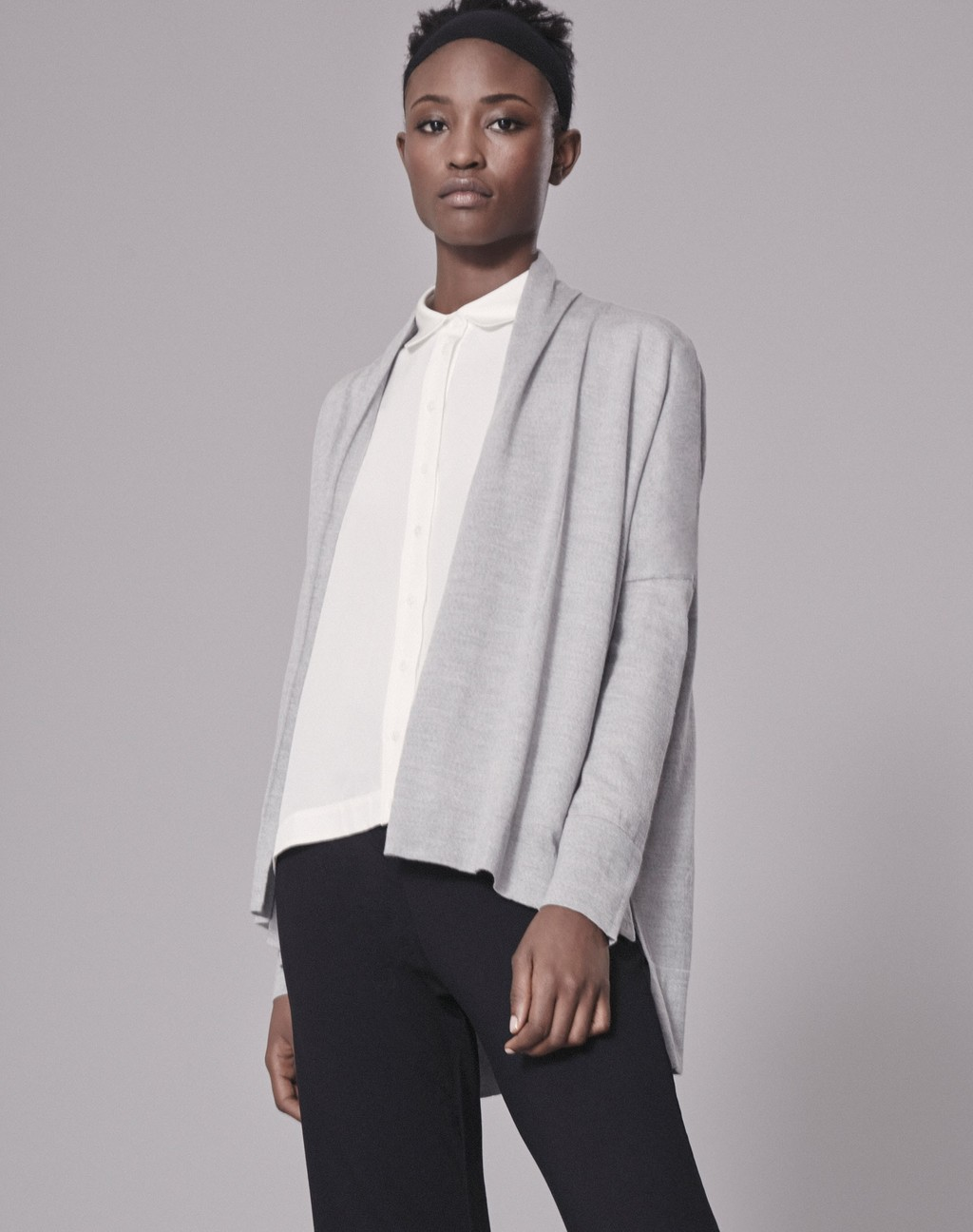 Super Fine 3/4 Cardigan - pattern: plain; neckline: shawl; style: open front; predominant colour: light grey; occasions: casual; length: standard; fibres: wool - 100%; fit: loose; sleeve length: long sleeve; sleeve style: standard; texture group: knits/crochet; pattern type: fabric; season: a/w 2016