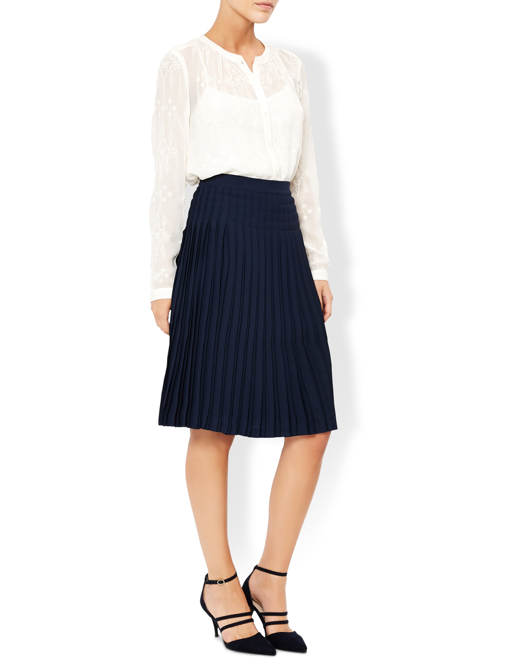 Becca Pleat Skirt - pattern: plain; fit: body skimming; style: pleated; waist: high rise; predominant colour: navy; occasions: work; length: on the knee; fibres: polyester/polyamide - 100%; pattern type: fabric; texture group: other - light to midweight; wardrobe: basic; season: a/w 2016