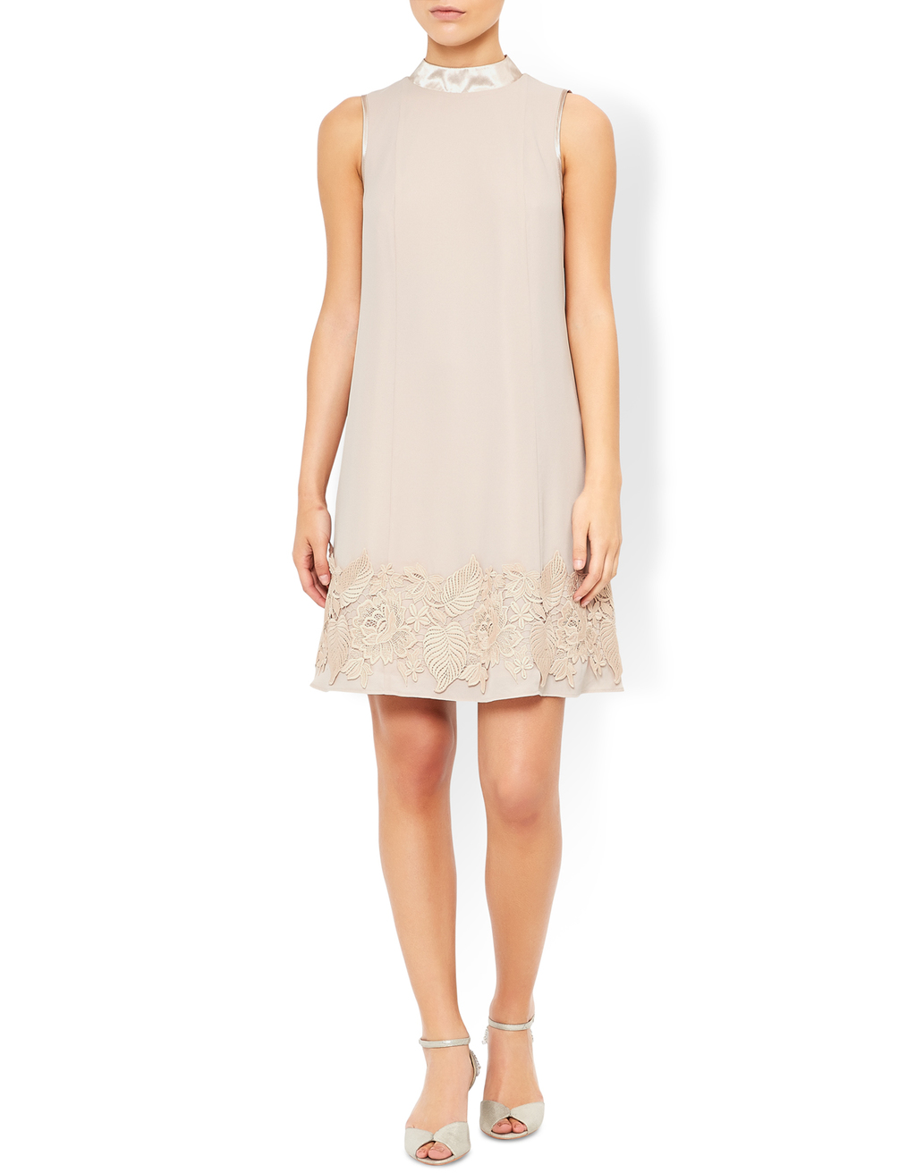 Dorri Lace Dress - style: trapeze; length: mid thigh; pattern: plain; sleeve style: sleeveless; neckline: high neck; predominant colour: nude; occasions: evening, occasion; fit: soft a-line; fibres: polyester/polyamide - 100%; hip detail: added detail/embellishment at hip; sleeve length: sleeveless; texture group: crepes; pattern type: fabric; embellishment: lace; season: a/w 2016
