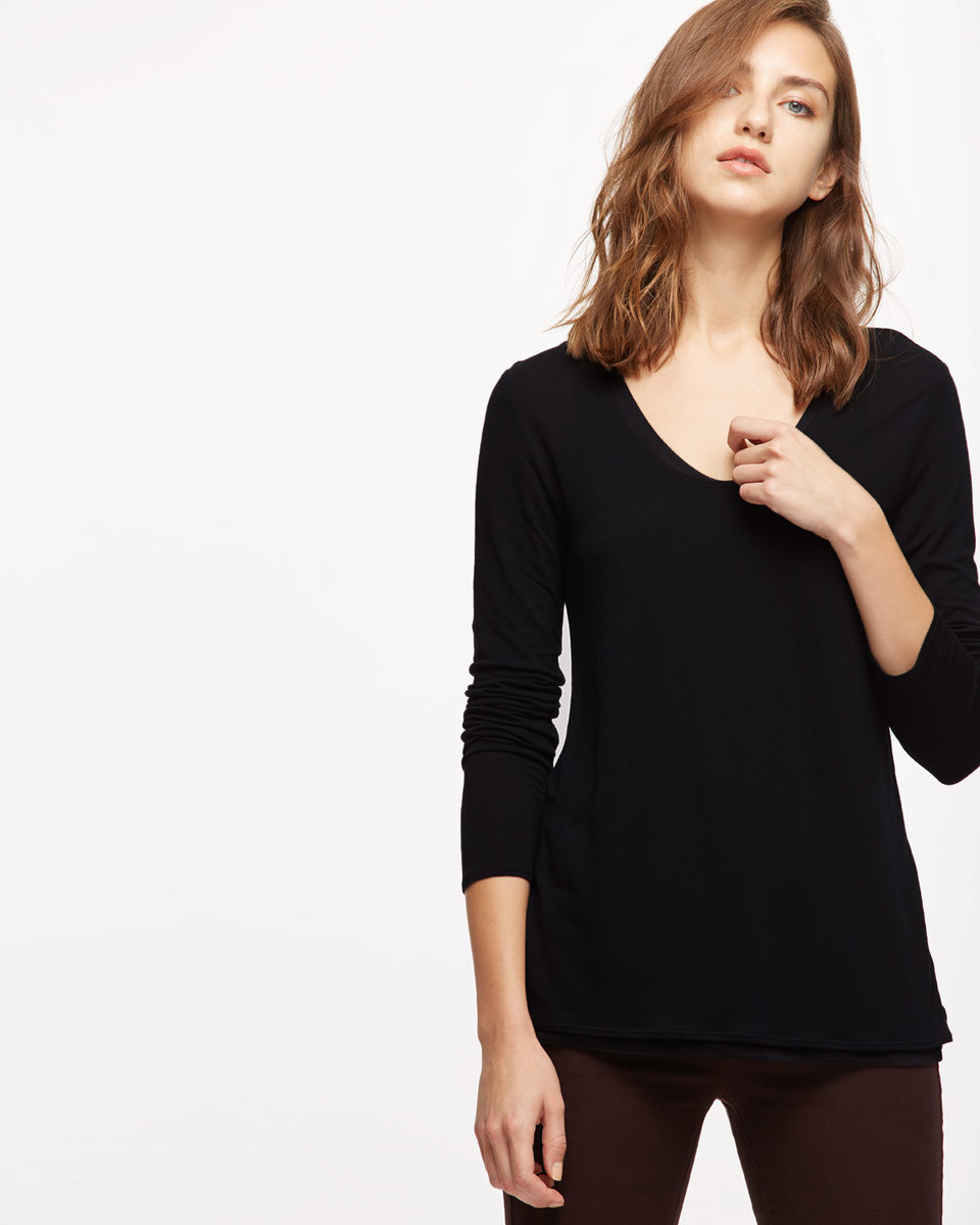 Double Layer Long Sleeve Tee - pattern: plain; style: t-shirt; predominant colour: black; occasions: casual; length: standard; neckline: scoop; fibres: cotton - 100%; fit: body skimming; sleeve length: 3/4 length; sleeve style: standard; pattern type: fabric; texture group: jersey - stretchy/drapey; wardrobe: basic; season: a/w 2016