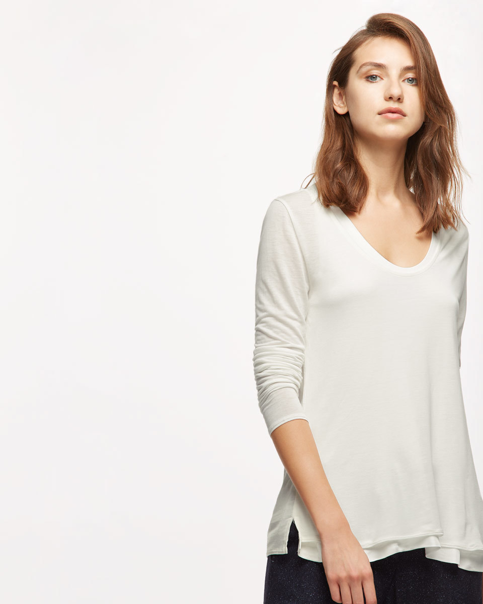 Double Layer Long Sleeve Tee - pattern: plain; style: t-shirt; predominant colour: white; occasions: casual; length: standard; neckline: scoop; fibres: cotton - stretch; fit: body skimming; sleeve length: 3/4 length; sleeve style: standard; pattern type: fabric; texture group: other - light to midweight; wardrobe: basic; season: a/w 2016