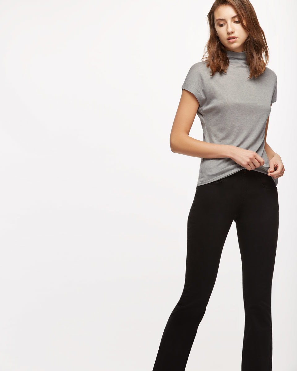 Turtleneck Cap Sleeve T Shirt - pattern: plain; neckline: high neck; style: t-shirt; predominant colour: light grey; occasions: casual; length: standard; fibres: cotton - stretch; fit: body skimming; sleeve length: short sleeve; sleeve style: standard; texture group: jersey - clingy; pattern type: fabric; wardrobe: basic; season: a/w 2016