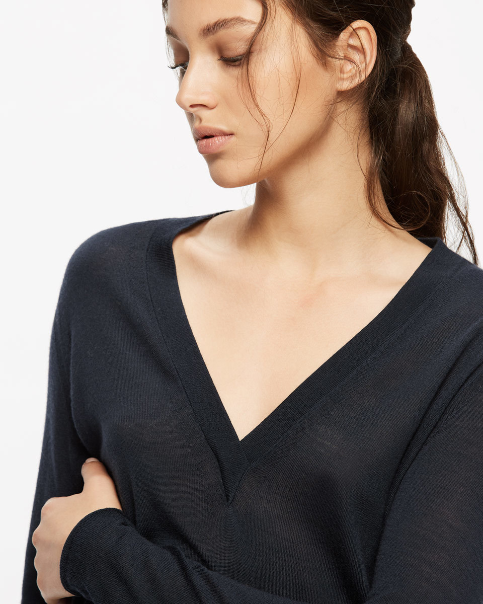 Cotton Cashmere V Neck Jumper - neckline: low v-neck; pattern: plain; style: standard; predominant colour: black; occasions: casual; length: standard; fibres: cotton - mix; fit: standard fit; sleeve length: long sleeve; sleeve style: standard; texture group: crepes; pattern type: fabric; season: a/w 2016; wardrobe: highlight
