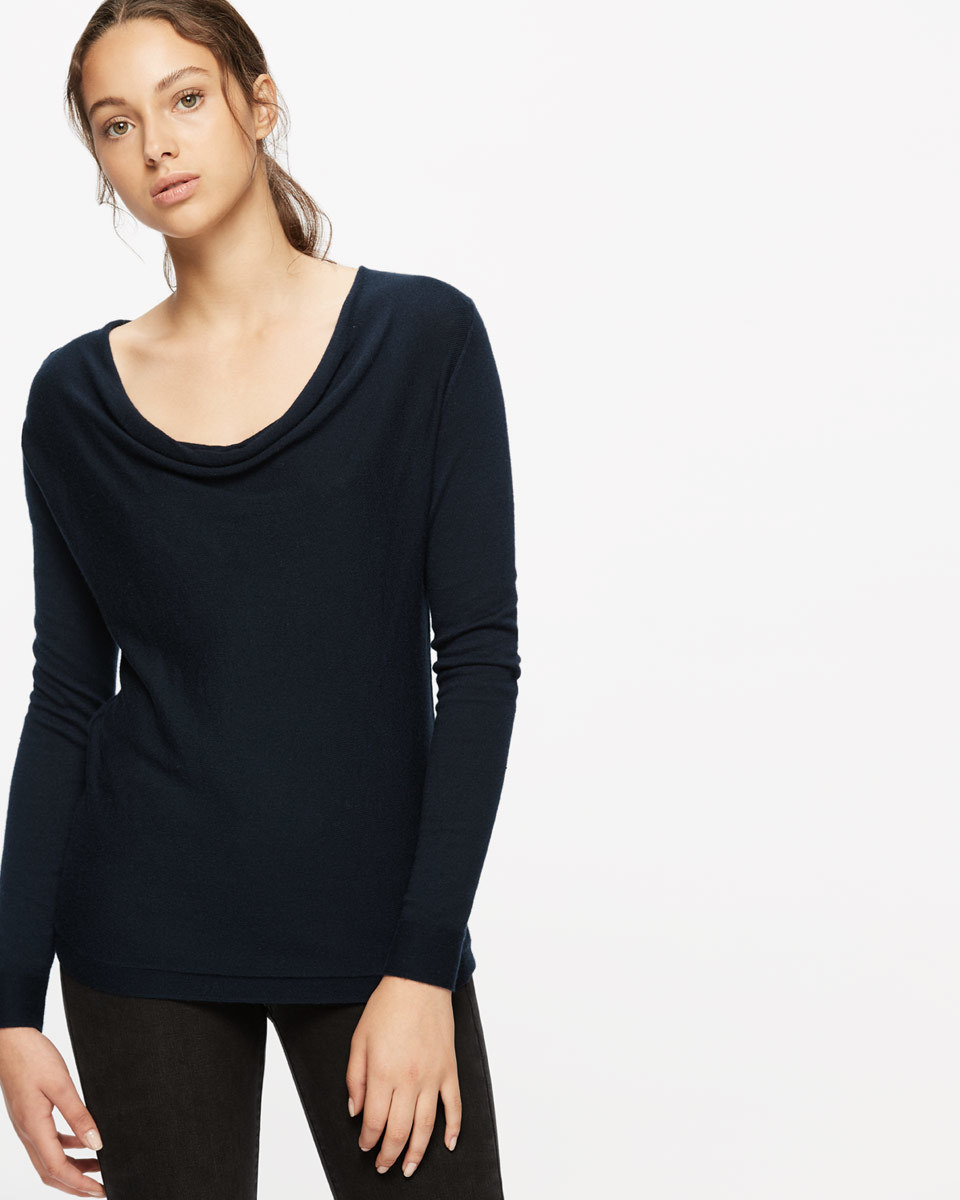 Luxury Blend Cowl Neck - neckline: cowl/draped neck; pattern: plain; predominant colour: navy; occasions: casual; length: standard; style: top; fit: body skimming; sleeve length: long sleeve; sleeve style: standard; pattern type: knitted - fine stitch; texture group: jersey - stretchy/drapey; fibres: viscose/rayon - mix; wardrobe: basic; season: a/w 2016