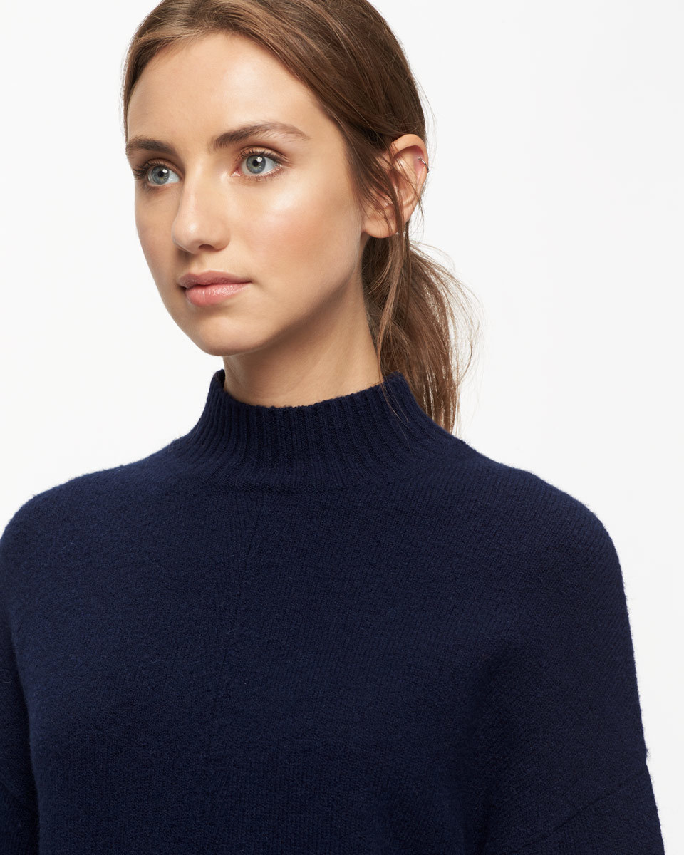 Sculpted Jumper - pattern: plain; neckline: high neck; style: standard; predominant colour: navy; occasions: casual; length: standard; fibres: cotton - mix; fit: slim fit; hip detail: subtle/flattering hip detail; sleeve length: long sleeve; sleeve style: standard; texture group: knits/crochet; pattern type: fabric; wardrobe: basic; season: a/w 2016