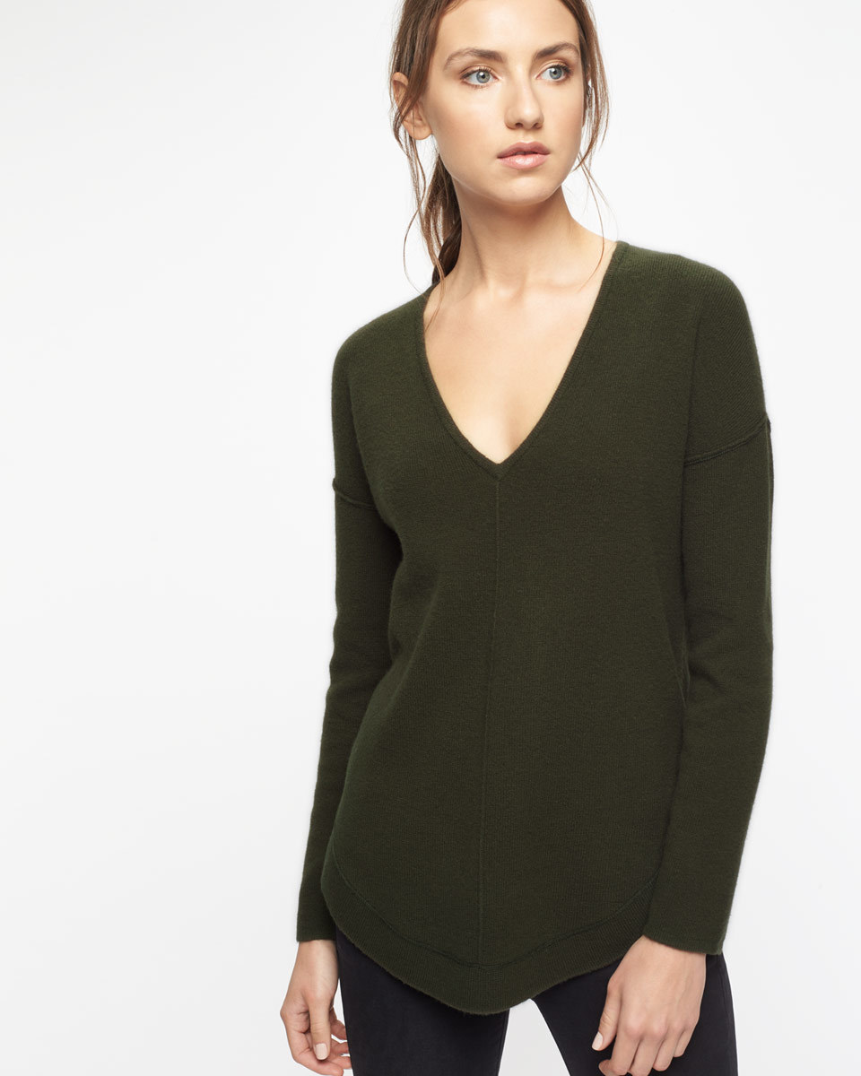 Wool Cashmere Curved Hem Jumper - neckline: low v-neck; pattern: plain; style: standard; predominant colour: khaki; occasions: casual, creative work; length: standard; fit: standard fit; fibres: cashmere - 100%; sleeve length: long sleeve; sleeve style: standard; texture group: knits/crochet; pattern type: knitted - fine stitch; wardrobe: investment; season: a/w 2016
