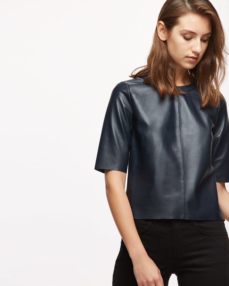 Leather Shell Top - pattern: plain; predominant colour: navy; occasions: casual; length: standard; style: top; fibres: leather - 100%; fit: straight cut; neckline: crew; sleeve length: half sleeve; sleeve style: standard; texture group: leather; pattern type: fabric; season: a/w 2016; wardrobe: highlight