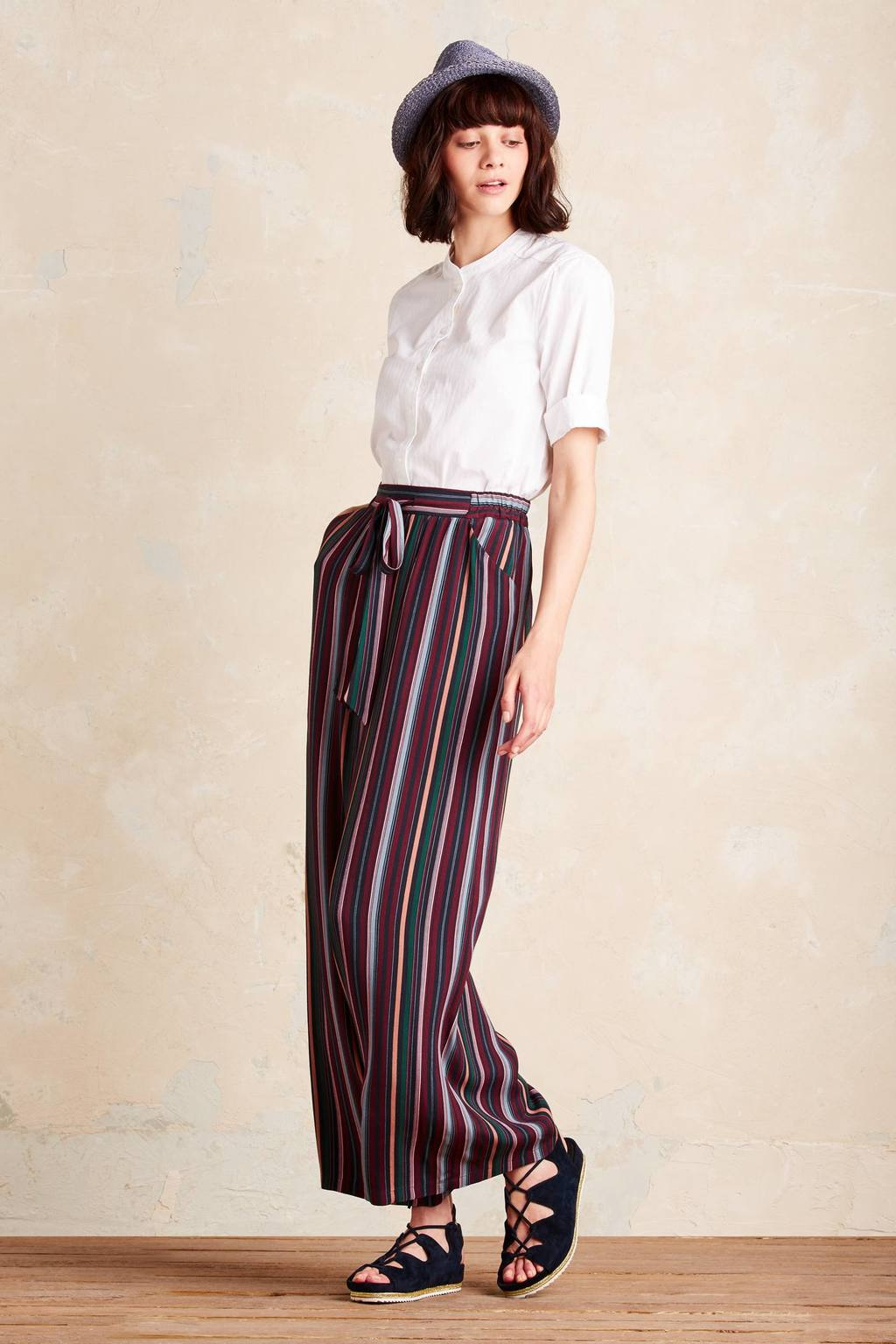 Sydney Striped Wide Leg Trousers, Purple - length: standard; pattern: striped; waist detail: belted waist/tie at waist/drawstring; waist: mid/regular rise; predominant colour: burgundy; secondary colour: light grey; occasions: casual; fibres: viscose/rayon - 100%; fit: wide leg; pattern type: fabric; texture group: other - light to midweight; style: standard; multicoloured: multicoloured; season: a/w 2016; wardrobe: highlight