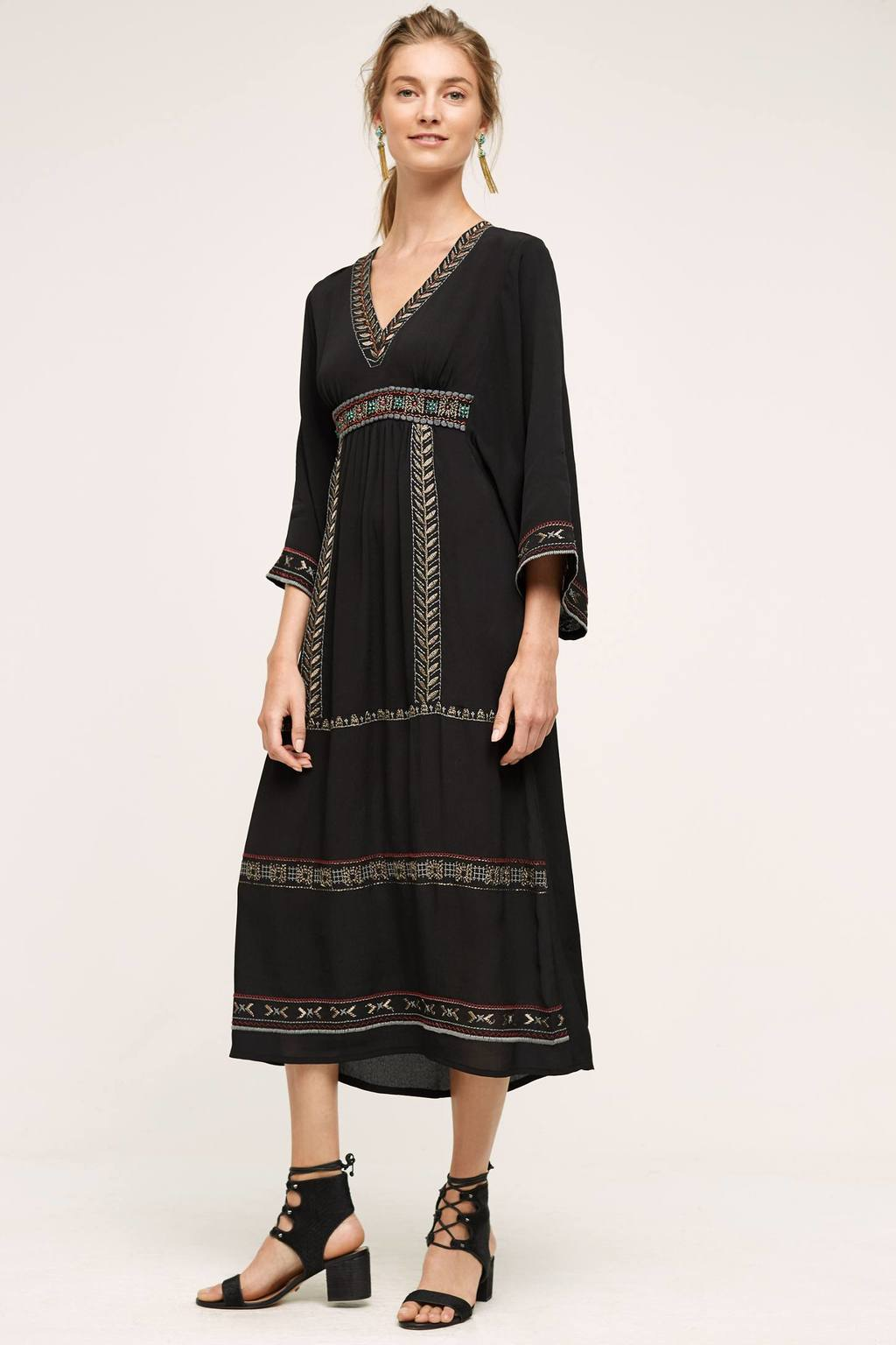 Isabel Beaded Midi Dress, Black - length: calf length; neckline: low v-neck; sleeve style: angel/waterfall; fit: empire; style: sundress; secondary colour: white; predominant colour: black; occasions: casual, holiday; fibres: cotton - 100%; hip detail: soft pleats at hip/draping at hip/flared at hip; sleeve length: 3/4 length; trends: monochrome; texture group: cotton feel fabrics; pattern type: fabric; pattern size: standard; pattern: patterned/print; embellishment: embroidered; season: a/w 2016