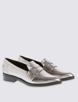 Pointed Loafers With Insolia Flex - predominant colour: silver; occasions: casual, creative work; material: faux leather; heel height: flat; toe: round toe; style: loafers; finish: plain; pattern: plain; wardrobe: basic; season: a/w 2016; trends: metropolis