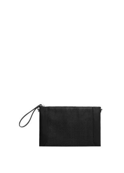 Perforated Panel Clutch - predominant colour: black; occasions: evening, occasion; type of pattern: standard; style: grab bag; length: hand carry; size: small; material: faux leather; pattern: plain; finish: plain; season: a/w 2016; wardrobe: event