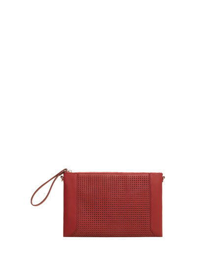 Perforated Panel Clutch - predominant colour: terracotta; occasions: evening, occasion; type of pattern: standard; style: clutch; length: hand carry; size: small; material: faux leather; pattern: plain; finish: plain; season: a/w 2016