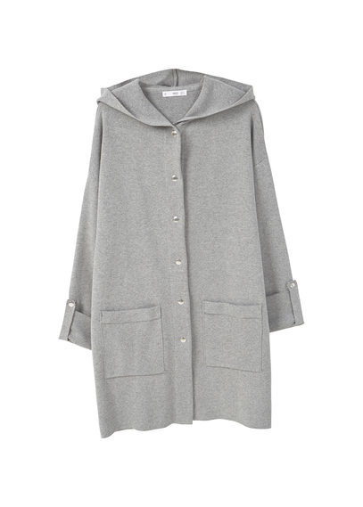 Cotton Blend Hooded Raincoat - neckline: v-neck; pattern: plain; back detail: hood; predominant colour: light grey; occasions: casual, creative work; style: standard; fibres: cotton - mix; fit: loose; length: mid thigh; sleeve length: long sleeve; sleeve style: standard; texture group: knits/crochet; pattern type: knitted - fine stitch; season: a/w 2016; wardrobe: highlight