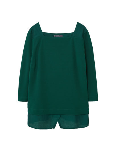 Textured Sweatshirt - pattern: plain; predominant colour: emerald green; occasions: casual, creative work; length: standard; style: top; fibres: polyester/polyamide - 100%; fit: straight cut; sleeve length: 3/4 length; sleeve style: standard; texture group: crepes; neckline: medium square neck; pattern type: fabric; season: a/w 2016; wardrobe: highlight