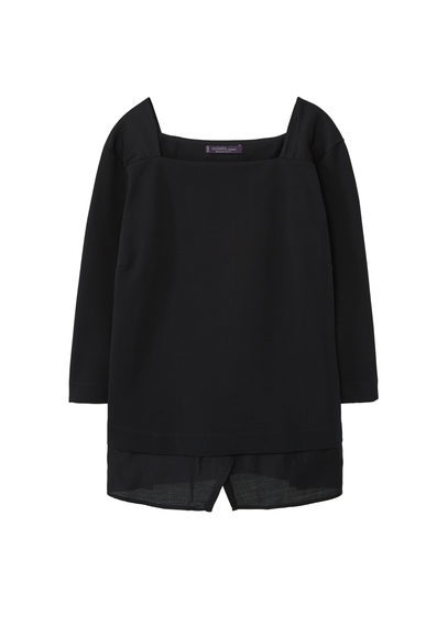 Textured Sweatshirt - pattern: plain; style: blouse; predominant colour: black; occasions: casual, creative work; length: standard; fibres: polyester/polyamide - 100%; fit: straight cut; sleeve length: 3/4 length; sleeve style: standard; texture group: crepes; neckline: medium square neck; pattern type: fabric; wardrobe: basic; season: a/w 2016