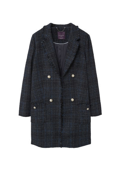 Tweed Wool Coat - pattern: checked/gingham; style: double breasted; collar: standard lapel/rever collar; length: mid thigh; predominant colour: navy; secondary colour: black; occasions: casual, creative work; fit: straight cut (boxy); fibres: wool - mix; sleeve length: long sleeve; sleeve style: standard; collar break: low/open; pattern type: fabric; pattern size: standard; texture group: woven bulky/heavy; season: a/w 2016; wardrobe: highlight