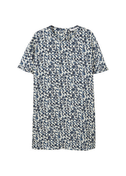 Printed Dress - style: shift; length: mid thigh; secondary colour: white; predominant colour: navy; occasions: casual; fit: body skimming; fibres: polyester/polyamide - 100%; neckline: crew; sleeve length: short sleeve; sleeve style: standard; texture group: cotton feel fabrics; pattern type: fabric; pattern: patterned/print; multicoloured: multicoloured; season: a/w 2016