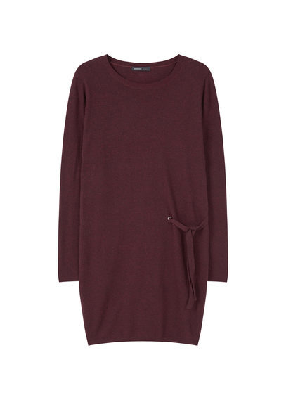 Bow Knitted Dress - style: jumper dress; length: mid thigh; pattern: plain; waist detail: belted waist/tie at waist/drawstring; predominant colour: burgundy; occasions: casual; fit: body skimming; fibres: cotton - mix; neckline: crew; sleeve length: long sleeve; sleeve style: standard; texture group: knits/crochet; pattern type: fabric; season: a/w 2016; wardrobe: highlight