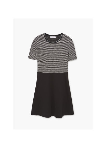 Contrasting Dress - style: t-shirt; length: mid thigh; pattern: horizontal stripes; secondary colour: light grey; predominant colour: black; occasions: casual; fit: body skimming; fibres: polyester/polyamide - stretch; neckline: crew; sleeve length: short sleeve; sleeve style: standard; pattern type: fabric; texture group: jersey - stretchy/drapey; multicoloured: multicoloured; wardrobe: basic; season: a/w 2016