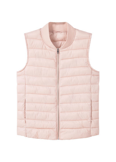 Quilted Gilet - pattern: plain; sleeve style: sleeveless; length: standard; collar: round collar/collarless; style: quilted; predominant colour: blush; occasions: casual; fit: straight cut (boxy); fibres: polyester/polyamide - 100%; sleeve length: sleeveless; collar break: high; pattern type: fabric; texture group: woven bulky/heavy; season: a/w 2016; wardrobe: highlight