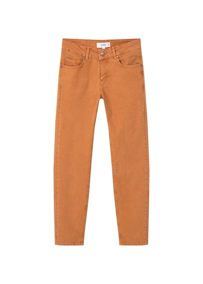 Straight Alice Jeans - style: straight leg; length: standard; pattern: plain; pocket detail: traditional 5 pocket; waist: mid/regular rise; predominant colour: bright orange; occasions: casual, creative work; fibres: cotton - stretch; texture group: denim; pattern type: fabric; season: a/w 2016; wardrobe: highlight