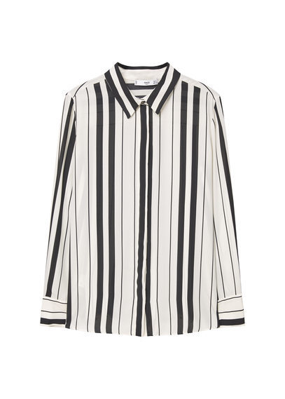 Printed Flowy Shirt - neckline: shirt collar/peter pan/zip with opening; pattern: striped; style: shirt; secondary colour: ivory/cream; predominant colour: black; occasions: casual, creative work; length: standard; fibres: polyester/polyamide - 100%; fit: body skimming; sleeve length: long sleeve; sleeve style: standard; trends: monochrome, graphic stripes; texture group: sheer fabrics/chiffon/organza etc.; pattern type: fabric; pattern size: big & busy (top); season: a/w 2016; wardrobe: highlight