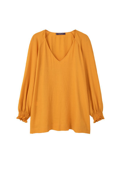 Flowy Textured Blouse - neckline: v-neck; pattern: plain; style: blouse; predominant colour: mustard; occasions: casual, creative work; length: standard; fibres: polyester/polyamide - 100%; fit: loose; sleeve length: long sleeve; sleeve style: standard; pattern type: fabric; texture group: other - light to midweight; season: a/w 2016; wardrobe: highlight