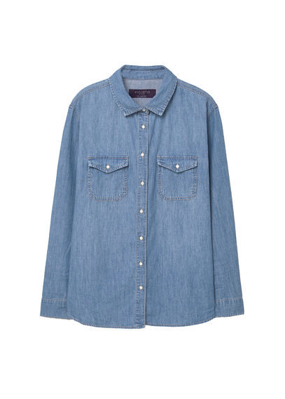 Medium Denim Shirt - neckline: shirt collar/peter pan/zip with opening; pattern: plain; style: shirt; predominant colour: denim; occasions: casual; length: standard; fibres: cotton - 100%; fit: body skimming; sleeve length: long sleeve; sleeve style: standard; texture group: denim; pattern type: fabric; season: a/w 2016