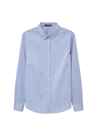 Cotton Shirt - neckline: shirt collar/peter pan/zip with opening; pattern: plain; style: shirt; predominant colour: pale blue; occasions: casual, work, creative work; length: standard; fibres: cotton - 100%; fit: body skimming; sleeve length: long sleeve; sleeve style: standard; texture group: cotton feel fabrics; pattern type: fabric; season: a/w 2016; wardrobe: highlight