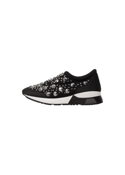 Jewel Sneakers - predominant colour: black; occasions: casual; material: leather; heel height: flat; toe: round toe; style: trainers; finish: plain; pattern: plain; embellishment: bow; wardrobe: basic; season: a/w 2016